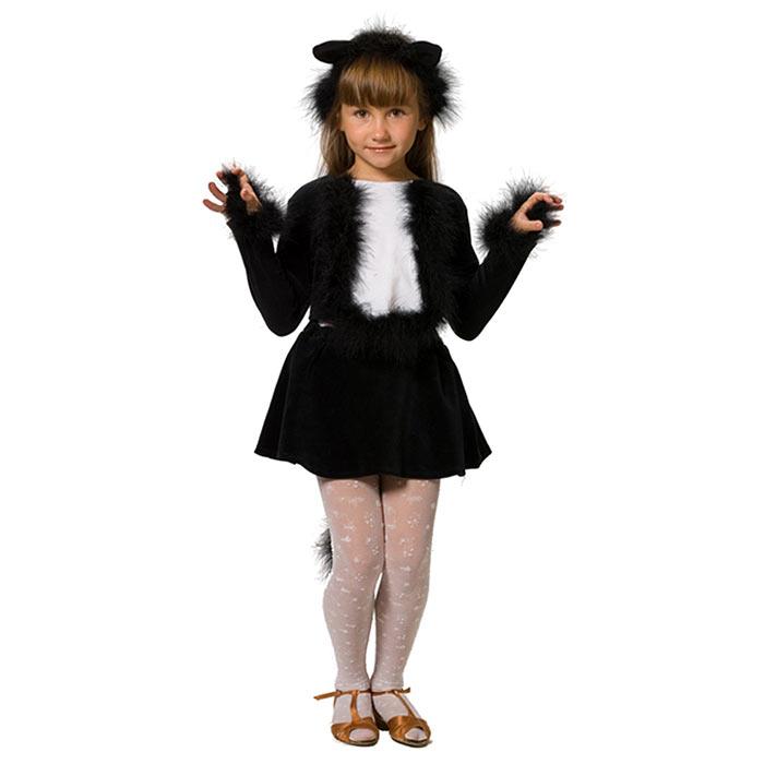 Карнавальный костюм для девочки Кошечка, цвет: черный, белый. 103 003. Размер 104/110103 003Яркий детский карнавальный костюм Кошечка позволит вашей малышке быть самой красивой девочкой на детском утреннике, бале-маскараде или карнавале. Костюм состоит из юбочки с хвостиком, кофточки и ободка с ушками. Он выполнен из мягкого, приятного на ощупь велюра. Кофточка с длинными рукавами на спинке застегивается на липучки. На грудке она оформлена белой вставкой декорированной пухом. Края рукавов также оформлены пушистыми манжетами. Юбочка с хвостиком на талии имеет широкую эластичную резинку, хвост также декорирован пухом. Дополнит образ очаровательной кошечки ободок с ушками, украшенный пушком. Такой карнавальный костюм привлечет внимание друзей вашего ребенка и подчеркнет его индивидуальность. Веселое настроение и масса положительных эмоций будут обеспечены!