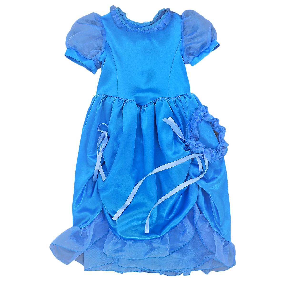 Карнавальный костюм для девочки Вестифика Мальвина, цвет: голубой. 102 016. Размер 110/122102 016Яркий детский карнавальный костюм Мальвина позволит вашей малышке быть самой красивой девочкой на детском утреннике, бале-маскараде или карнавале. Костюм состоит из платья и повязки на голову. Шикарное платье с рукавами-фонарикам, выполненное из атласного материала, на спинке застегивается на липучки. Рукава изготовлены из легкой полупрозрачной органзы. Спереди юбка платья присборена на эластичные резинки и декорирована очаровательными атласными бантиками, а понизу оформлена широким воланом. Дополнит образ прекрасной Мальвины эластичная повязка на голову, выполненная из органзы и декорированная тонкой атласной лентой-бантиком. Такой карнавальный костюм привлечет внимание друзей вашего ребенка и подчеркнет его индивидуальность. Веселое настроение и масса положительных эмоций будут обеспечены!