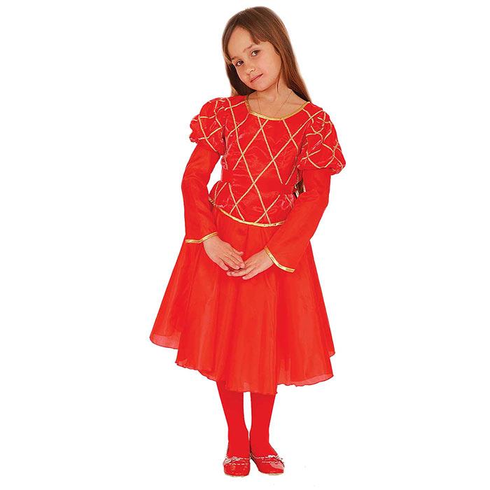 Карнавальный костюм для девочки Вестифика Принцесса, цвет: красный. 102 009. Размер 116/122102 009Яркий детский карнавальный костюм Принцесса позволит вашей малышке быть самой красивой девочкой на детском утреннике, бале-маскараде или карнавале. Шикарное платье с длинными рукавами-фонариками, выполненное из атласного материала, декорировано тонкой золотистой тесьмой, на талии имеется широкий поясок. На спинке оно застегивается на липучки. В комплект с платьем входит двуслойный подъюбник, выполненный из гладкой подкладочной ткани и жесткой микросетки, которая придает платью пышность и воздушность. Такой карнавальный костюм привлечет внимание друзей вашего ребенка и подчеркнет его индивидуальность. Веселое настроение и масса положительных эмоций будут обеспечены!