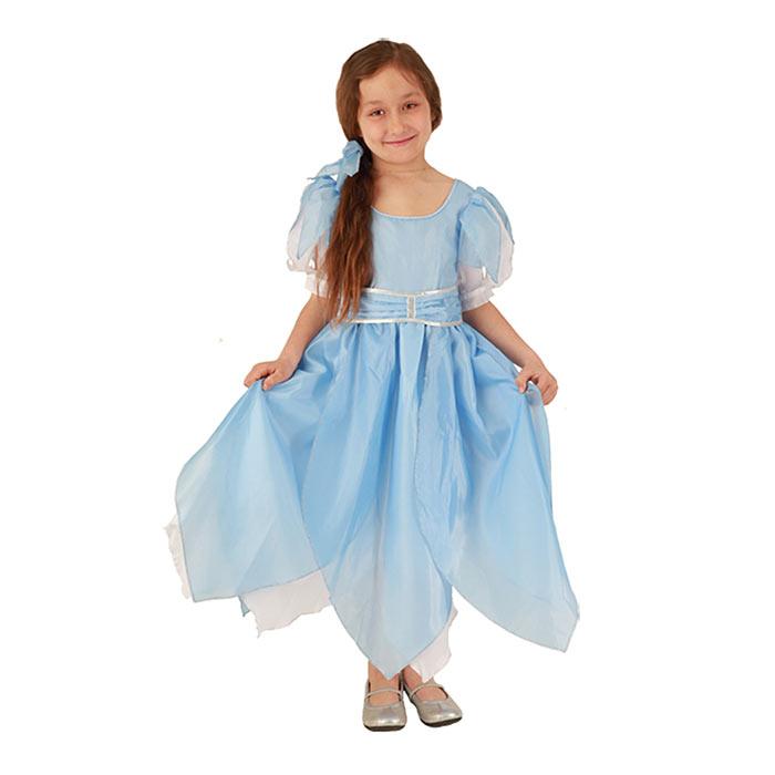 Карнавальный костюм для девочки Вестифика Дюймовочка, цвет: голубой, белый. 102 005. Размер 110/128102 005Яркий детский карнавальный костюм Дюймовочка позволит вашей малышке быть самой красивой девочкой на детском утреннике, бале-маскараде или карнавале. Шикарное платье с короткими «летящими» рукавами, выполненное в нежной гамме, на спинке застегивается на липучки. Юбка платья сшита из «лепестков» и дополнена передником контрастного цвета с широким поясом, который на спинке завязывается в очаровательный бант. Такой карнавальный костюм привлечет внимание друзей вашего ребенка и подчеркнет его индивидуальность. Веселое настроение и масса положительных эмоций будут обеспечены!