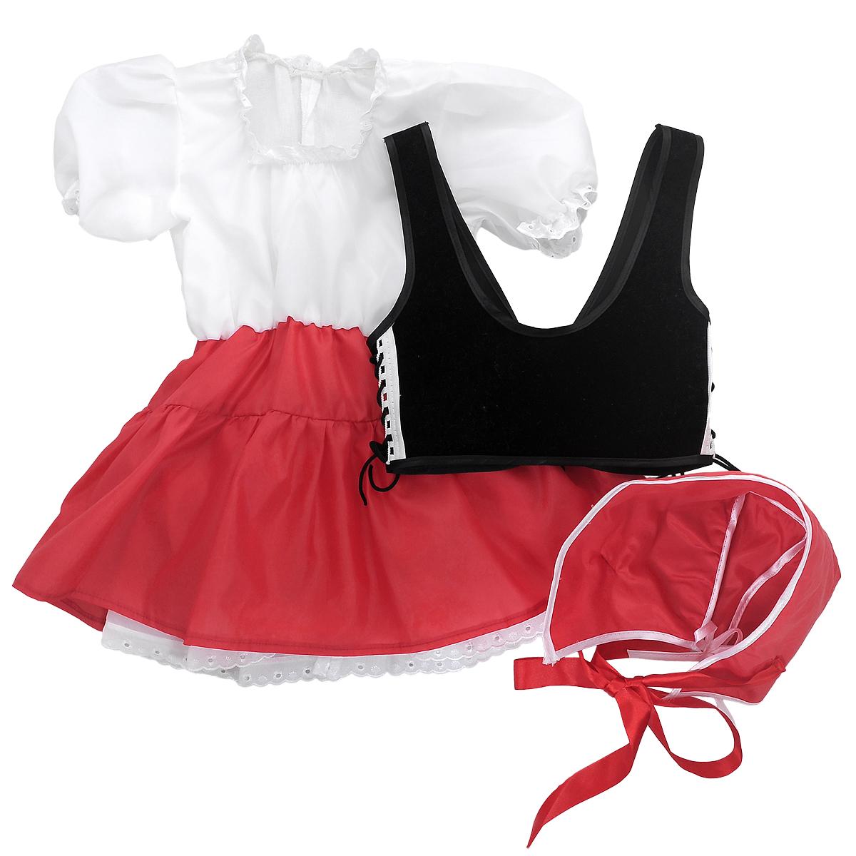 Карнавальный костюм для девочки Вестифика Красная Шапочка, цвет: черный, красный. 102 003. Размер 98/110102 003Детский карнавальный костюм для девочки Вестифика Красная Шапочка позволит вашей малышке быть яркой героиней на детском утреннике, бале-маскараде или карнавале. Костюм состоит из платья, жилета-корсета и шапочки. Платье с длинными рукавами-фонариками и подъюбником выполнена из атласного материала. Вырез горловины и низ рукавов присборены на эластичные резинки и украшены ажурными рюшами. Низ модели также украшен ажурными рюшами. Шапочка по краю оформлена контрастной бейкой и дополнена двумя атласными ленточками и декоративным бантиком. Корсет с бретелями дополнен шнуровками по бокам. Спереди изделие завязывается на шнуровку. В этом костюме веселое настроение и масса положительных эмоций будут обеспечены!