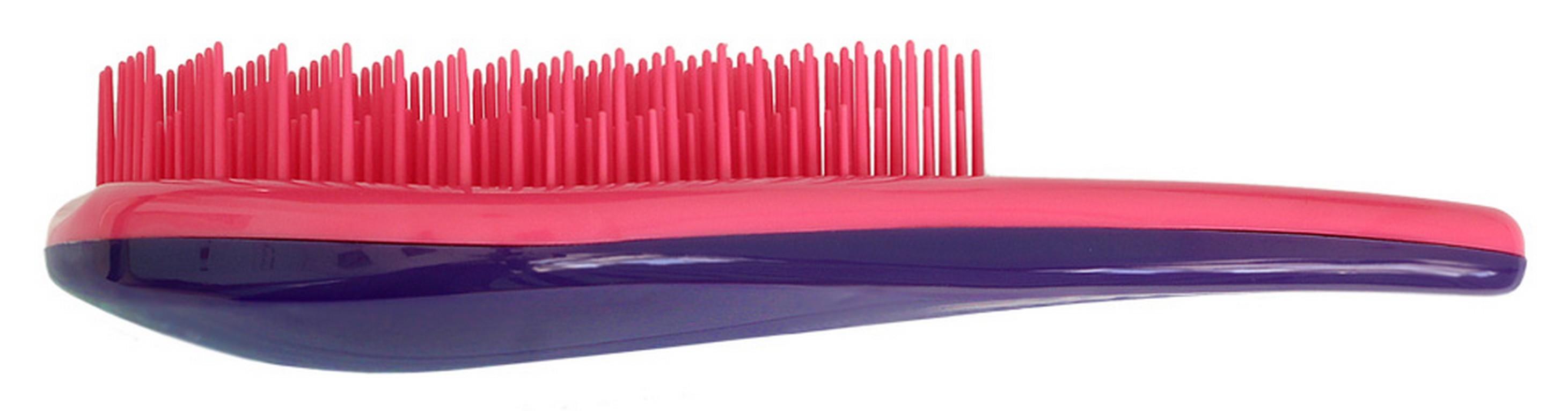 Щетка для волос для распутывания волос Detangler розовый/фиолетовыйCDB 452Специально созданная щетка для волос для того, чтобы справляться с сильно запутавшимися волосами. Уникальная инновационная конструкция гибких зубчиков позволяет безвредно для волос устранить узелки и распутать пряди. Расчёсывает волосы быстро, легко и не требует использования дополнительных средств. Подходит для любого типа волос, включая тонкие, ломкие, кудрявые и жёсткие волосыНаличие ручки делает удобным расчесывание, а слегка изогнутая форма щетки в виде капли отлично лежит в руке и не выскальзывает, что особенно важно при расчесывании влажных волос. Уникальные зубчики щетки Clarette Detangler имеют повышенную гибкость и мягко преодолевают любое препятствие в волосах. Зубчики у расчески очень короткие и легкогнутся. При расчесывании они пропускают сквозь себя пряди любой длины и фактуры, не цепляя их и не «скатывая» в колтуны. Высококачественный упругий пластик, из которого сделаны зубчики расчески, не царапает кожу головы, а мягко воздействует на нее, обеспечивая массажный...
