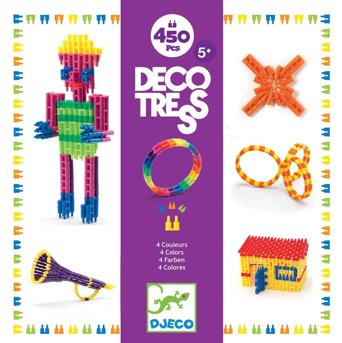 Djeco Конструктор Деко Тресс 0013500135Конструктор Djeco Деко Тресс предлагает малышу построить с помощью разноцветных деталей яркие конструкции и фигуры. Этот удивительный набор - прекрасная возможность для развития навыков конструирования, мелкой моторики, творческой фантазии. В комплекте 450 деталей пяти цветов.