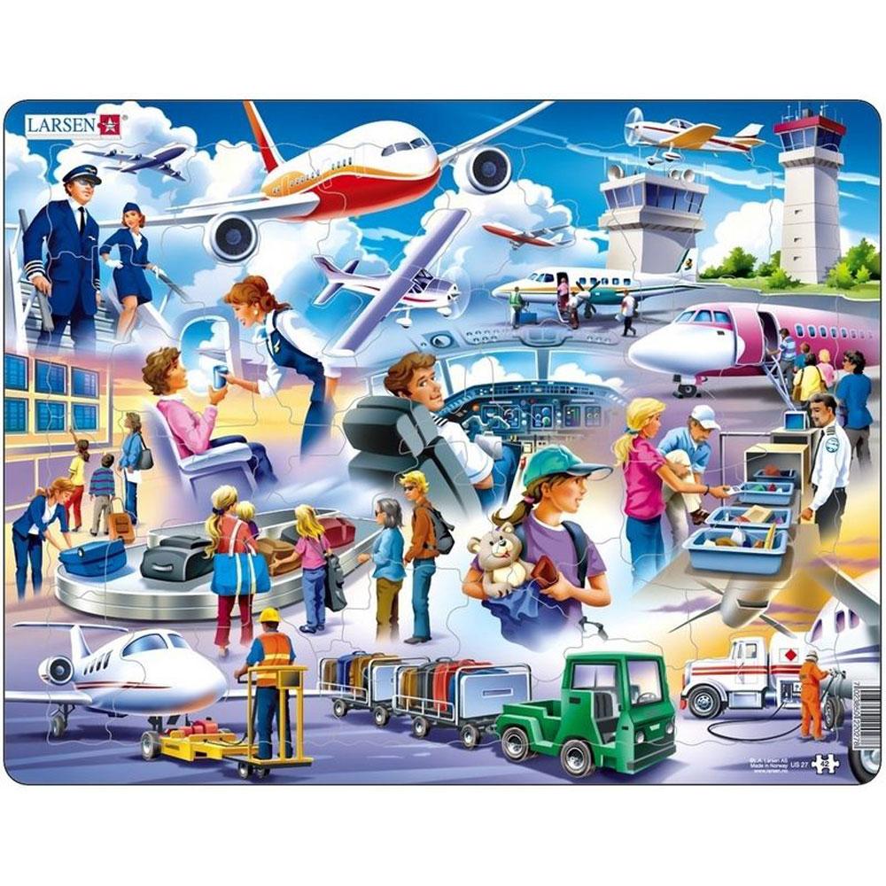 Larsen Пазл для малышей АэропортUS27Красочное изображение международного аэропорта и пассажиров познакомит детей с особенностями путешествий на самолете. Пазл для малышей Larsen Аэропорт состоит из большого количества деталей, которые удобно соединять между собой, последовательно складывая единую картинку. Многообразие форм и различные размеры отдельных элементов способствуют развитию мелкой моторики у малышей. Пазлы из высококачественного трехслойного картона не деформируются и легко берутся в руки. Пазл снабжен специальной подложкой, благодаря чему его удобно собирать.