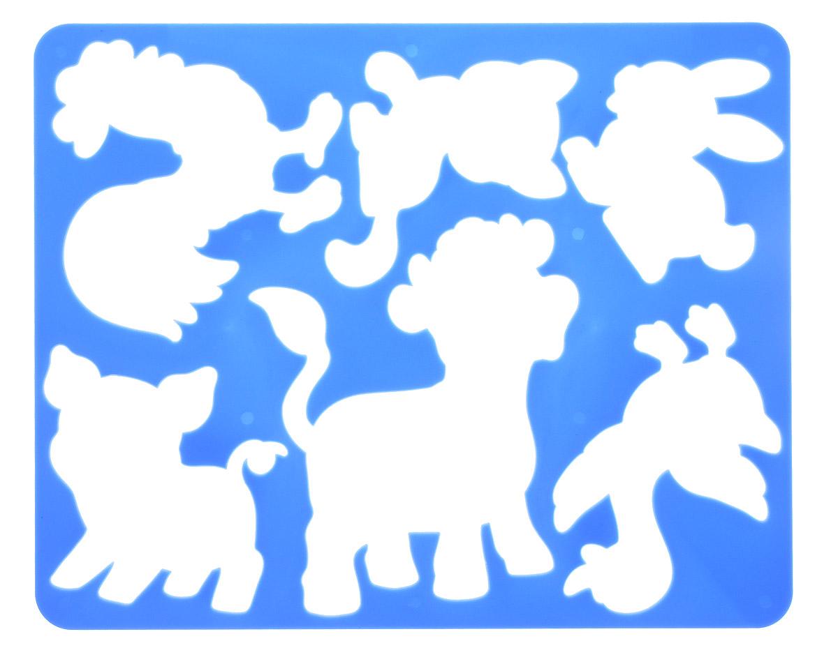 Луч Трафарет прорезной Веселое подворье Бычок цвет синий