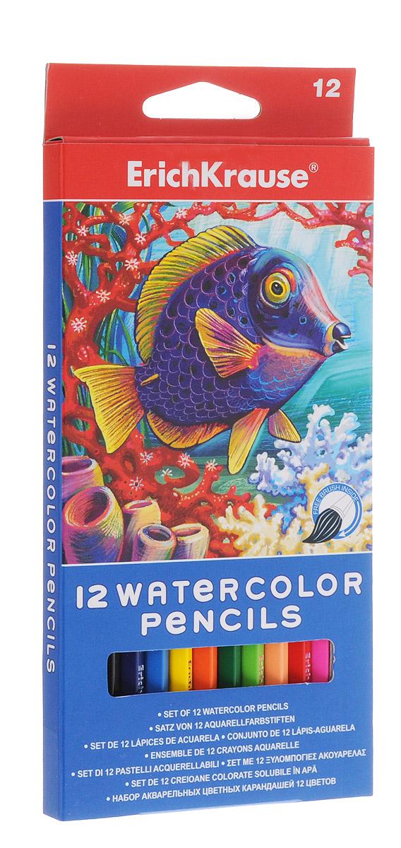 Erich Krause Набор цветных акварельных карандашей с кисточкой 12 шт 32485