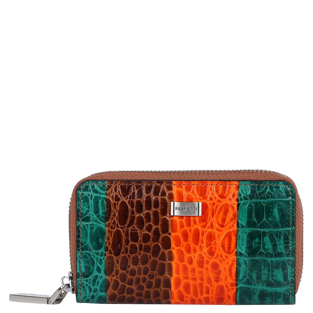 Ключница женская Fabretti, цвет: коричневый. 15051201-colorful15051201-colorfulРоскошная женская ключница от итальянского бренда Fabretti выполнена из натуральной кожи с приятной выпуклой фактурой. Дизайнерское сочетание рыжего болотного и коричневого оттенка, яркая фурнитура в золотом цвете подчеркнут ваш неповторимый и изысканный стиль. Внутри находится 6 крючков и удобное крепление для ключей, на тыльной стороне дизайнеры разместили аккуратный карман для мелочей.
