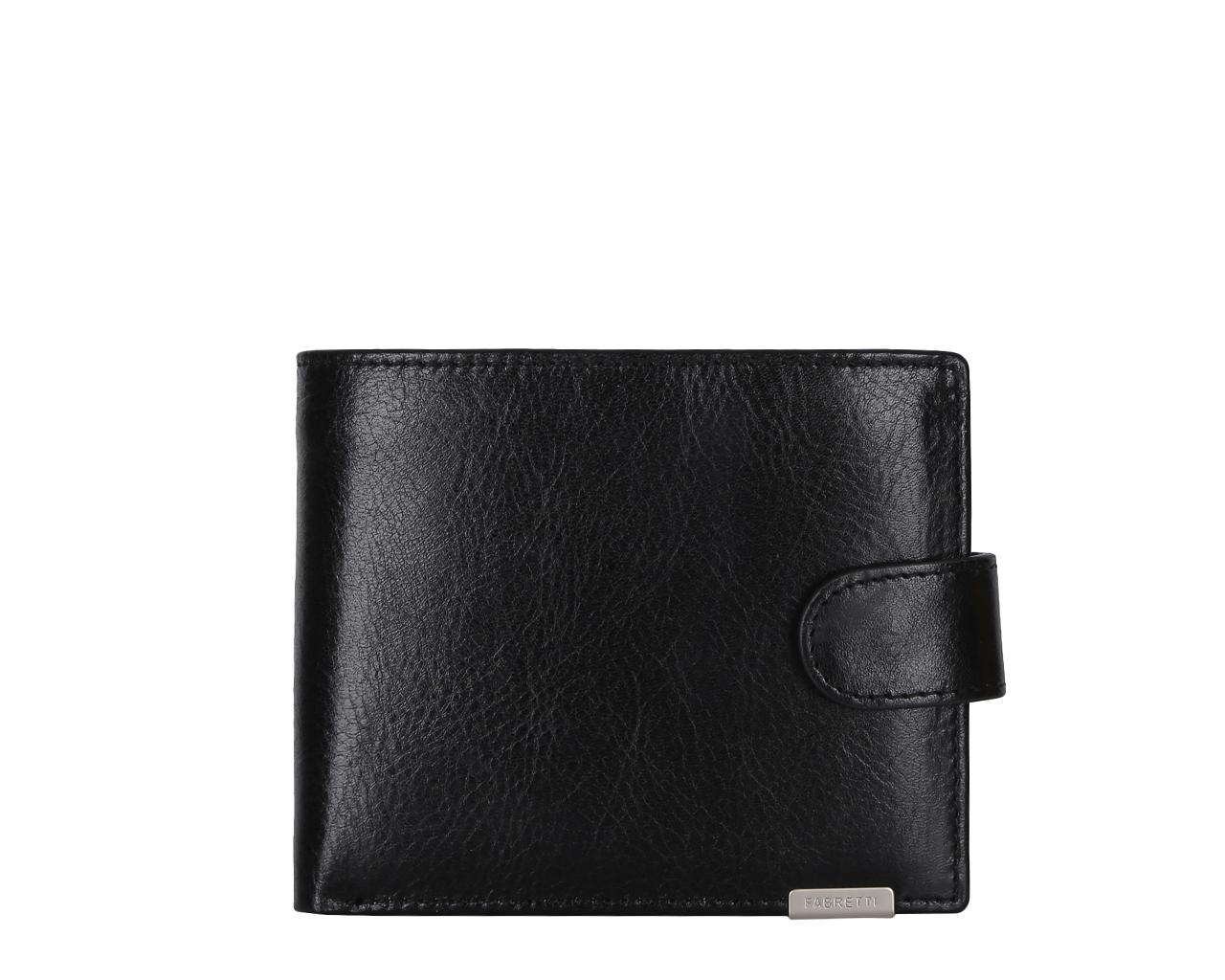 Кошелек мужской Fabretti, цвет: черный. 36002-black36002-blackМужской кошелек от итальянского бренда Fabretti выполнен из натуральной кожи, которая имеет мягкую пористую фактуру. Классический черный цвет и модная фурнитура в серебряном цвете подчеркнут ваш элегантный стиль. Внутри изделия находятся три отделения для купюр, одно из которых закрывается на прочную молнию. Вы с легкостью сможете расположить свои кредитные и дисконтные карты с помощью 6 отделений, а также носить с собой любимую фотографию. На тыльной стороне кошелька дизайнеры разместили вместительный карман для мелочи. Закрывается аксессуар на прочную и удобную кнопку.