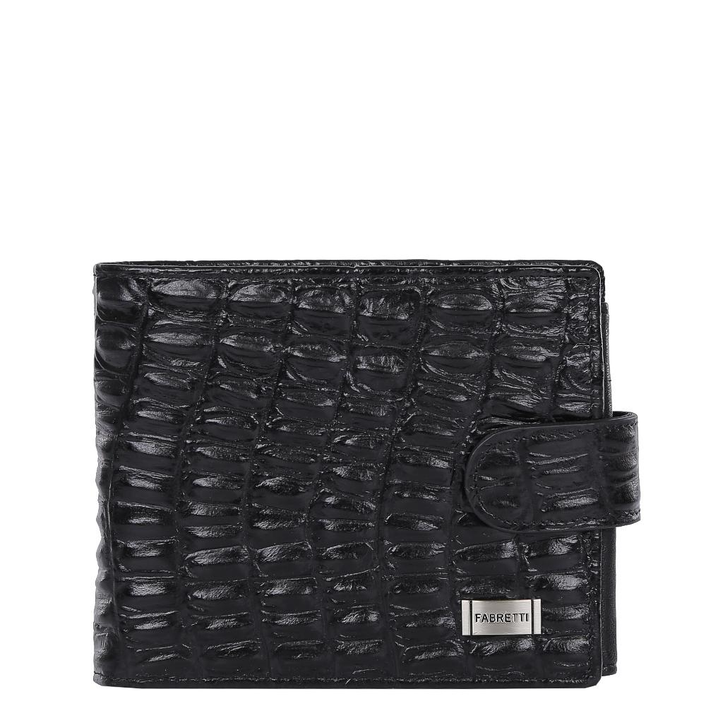 Кошелек мужской Fabretti, цвет: черный. 36003-black cocco36003-black coccoКлассический мужской кошелек от итальянского бренда Fabretti выполнен из натуральной кожи с выпуклым тиснением под рептилию. Насыщенный черный цвет и фурнитура, выполненная в серебряном цвете, превратили аксессуар в модное изделие, которое подчеркнет ваше уникальное чувство стиля. Внутри модели имеется 3 отделения для купюр, одно из которых закрывается на молнию. Вы с легкостью сможете расположить 5 дисконтных и кредитных карточек, три фотографии, а также всю мелочь с помощью удобного кармана. Кошелек закрывается на прочную застежку.