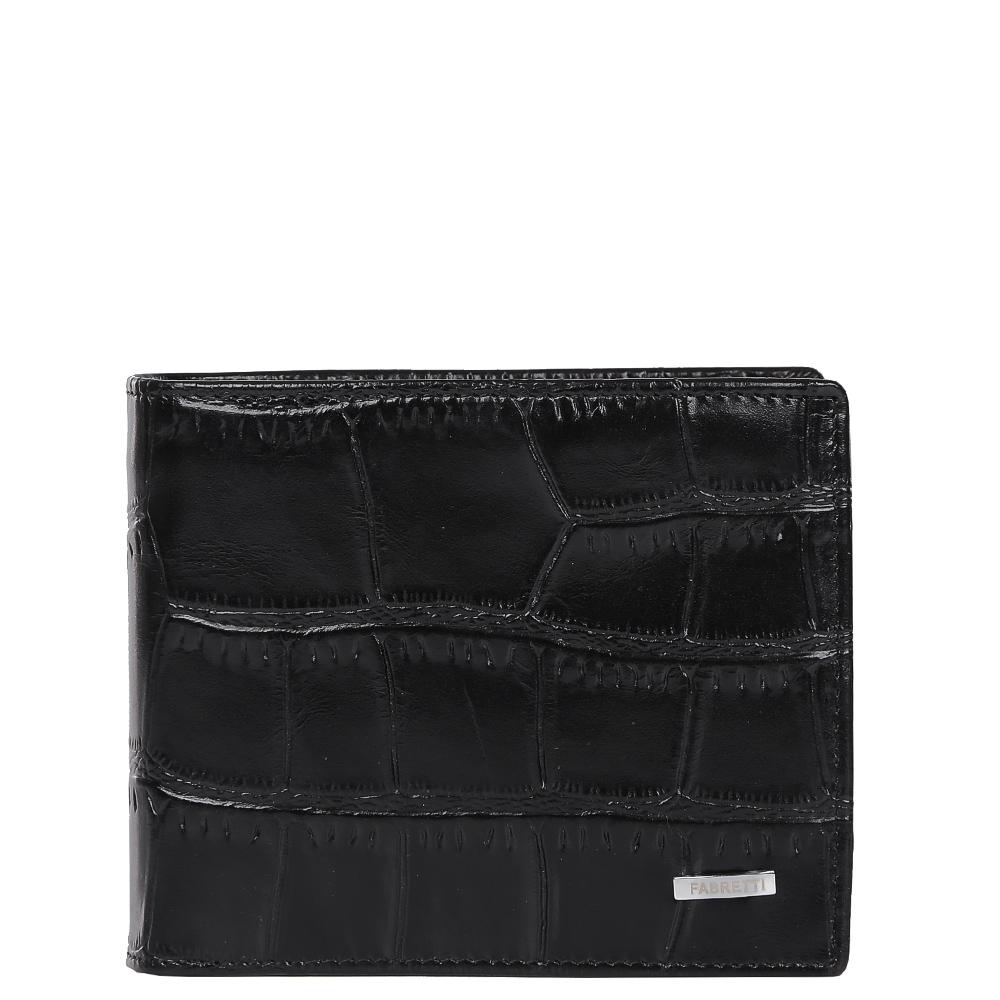 Кошелек мужской Fabretti, цвет: черный. 37007-black cocco37007-black coccoКлассический мужской кошелек от итальянского бренда Fabretti выполнен из натуральной кожи с элегантным тиснением под рептилию. Насыщенный черный цвет и фурнитура, выполненная в серебряном цвете, превратили аксессуар в модное изделие, которое подчеркнет ваше уникальное чувство стиля. Внутри модели имеется 1 отделение для купюр. Вы с легкостью сможете расположить 6 дисконтных и кредитных карточек, а также всю мелочь с помощью удобного кармана.