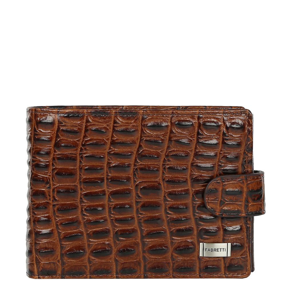 Кошелек мужской Fabretti, цвет: коричневый. 37022-brown cocco37022-brown coccoСтильный мужской кошелек от итальянского бренда Fabretti выполнен из натуральной кожи с изысканным тиснением под рептилию. Элегантный коричневый цвет и фурнитура, выполненная в серебряном цвете, превратили аксессуар в модное и яркое изделие, которое подчеркнет ваше уникальное чувство стиля. Внутри имеется три отделения для купюр, одно из которых закрывается на молнию. Вы с легкостью сможете расположить 6 дисконтных и кредитных карточек, а также всю мелочь с помощью удобного внутреннего кармана. Кошелек закрывается на прочную застежку.