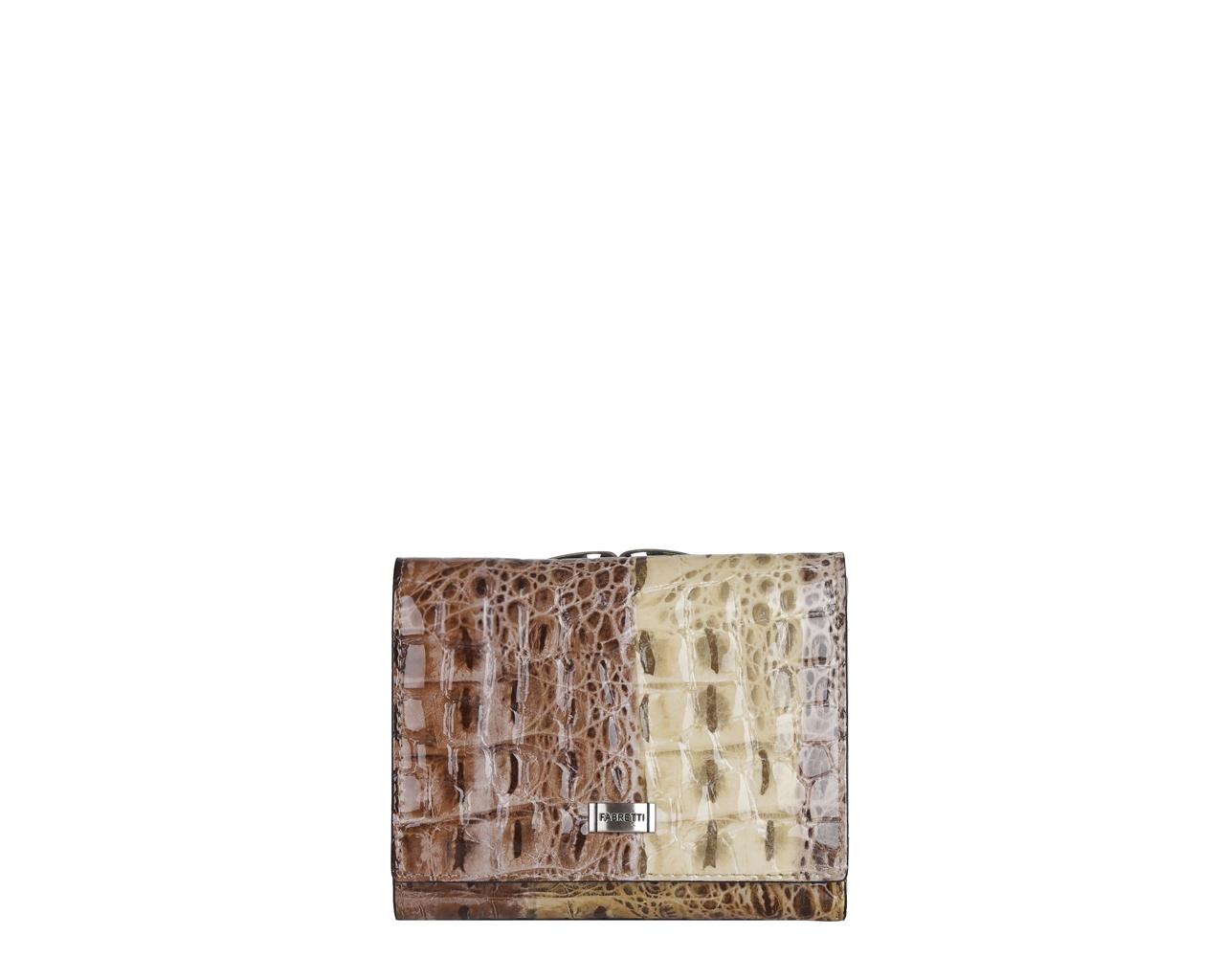 Кошелек женский Fabretti, цвет: мультиколор. 47009-colourful cocco L47009-colourful cocco LЯркий и элегантный женский кошелек от итальянского бренда Fabretti выполнен из натуральной лакированной кожи с тиснением под крокодила. Фурнитура, выполненная в серебре, и роскошный дизайнерский крокодиловый принт делают дизайн утонченным и изысканным. Кошелек состоит из 3 вместительных отделений. В первом Вы сможете хранить купюры в удобном отделении, а также любимую фотографию и кредитные карты. Второе отделение закрывается на удобный рамочный замок и предназначен для мелочи. В третьем отделение Вы с легкостью разместите все дисконтные и скидочные карты, поскольку оно имеет 5 вместительных отделов. Аксессуар закрывается на удобную заклепку.