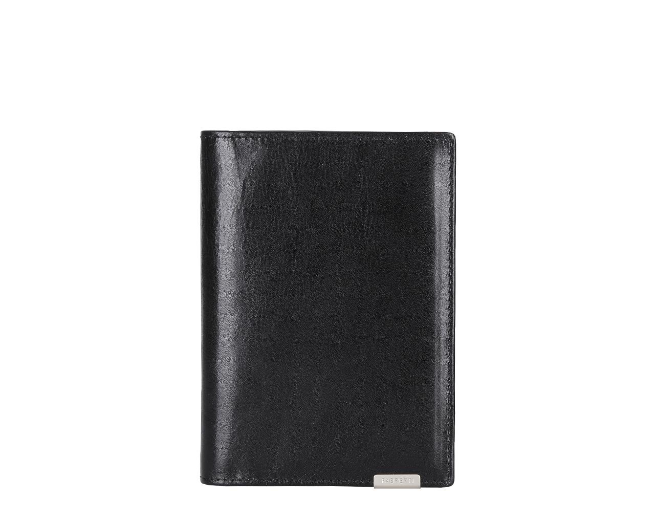 Обложка для документов мужская Fabretti, цвет: черный. 5401954019-blackМужская обложка для документов Fabretti выполнена из натуральной кожи. Внутри имеется дополнительно вкладыш для документов и 5 отделений для кредитных и дисконтных карт.