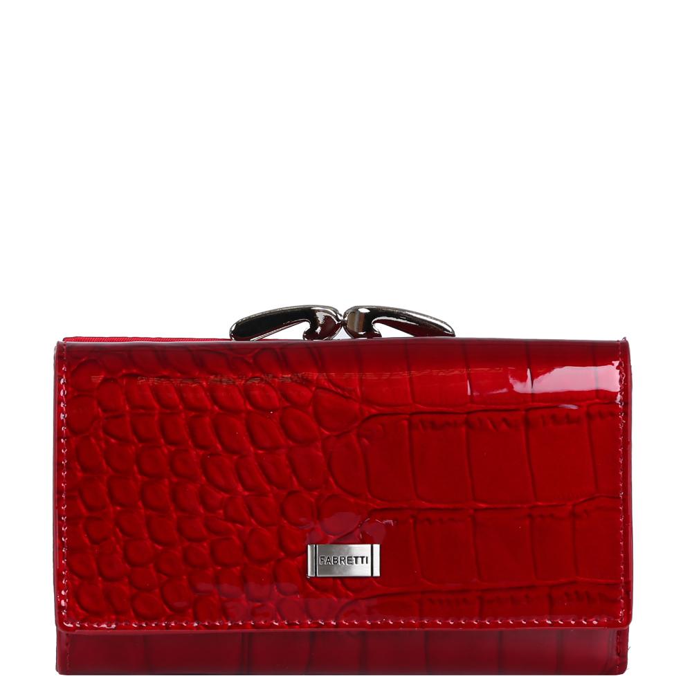 Кошелек женский Fabretti, цвет: красный. 55020-red cocco L55020-red cocco LИзысканный кошелек от итальянского бренда Fabretti выполнен из натуральной кожи с ярким и утонченным тиснением под рептилию. Невероятно актуальный в этом сезоне оттенок морсало и роскошная фурнитура превращают кошелек в изящный аксессуар, который понравится любой моднице. Внутри модели находятся два отделения для купюр, одно из которых закрывается на молнию. Аксессуар очень многофункционален. Вы сможете разместить все ваши дисконтные и кредитные карточки с помощью 17 отделений. На тыльной стороне дизайнеры разместили вместительный карман на изысканном рамочном замке. Кошелек закрывается на прочную заклепку.