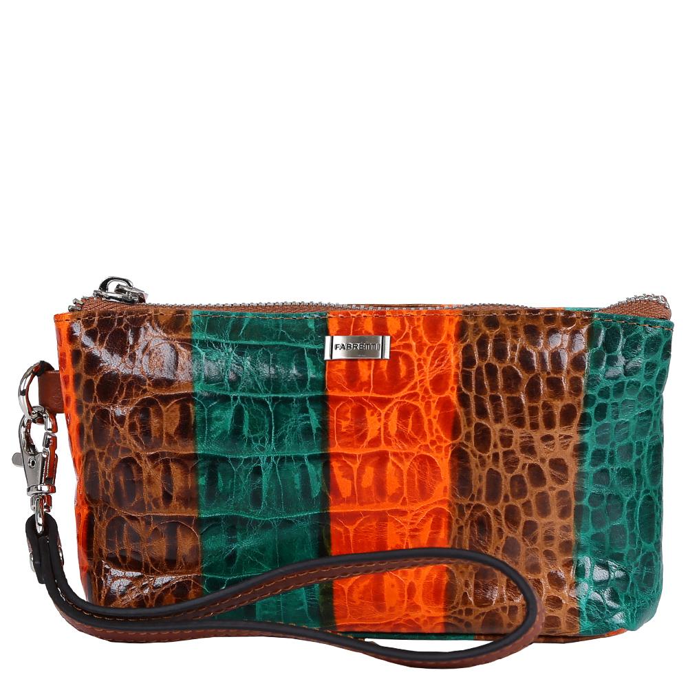 Косметичка женская Fabretti, цвет: мультиколор. 58100-colorful58100-colorfulЯркая и модная косметичка от итальянского бренда Fabretti выполнена из натуральной мягкой кожи с роскошным тиснением под рептилию. Дизайнерское сочетание коричневого, оранжевого и болотных цветов позволило дизайнерам создать элегантный и жизнерадостный аксессуар, который понравится любительницам современных стилей. Внутри находится одно отделение, которое разделено карманом на молнии на два отсека, в которые вы сможете уместить все приятные дамские мелочи. Аксессуар закрывается на прочную молнию со стальным поводком. Удобный ремешок позволит вам носить косметичку на руке.