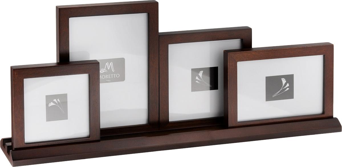 Фоторамка Moretto, на 4 фото238012Фоторамка-коллаж Moretto - прекрасный способ красиво оформить ваши фотографии. Фоторамка выполнена из дерева и защищена стеклом, предназначена для четырех фотографий. Фоторамка-коллаж представляет собой четыре фоторамки для фото разных размеров с подставкой. Такая фоторамка поможет сохранить в памяти самые яркие моменты вашей жизни, а стильный дизайн сделает ее прекрасным дополнением интерьера комнаты. Размеры фоторамок: - 14,7 х 14,7 см для фото 12 х 12 см, - 14,8 х 19,6 см для фото 12 х 17 см, - 12,1 х 17,2 см для фото 10 х 15 см, - 12 х 12 см для фото 10 х 10 см, Размер подставки для фото: 50 х 6 см.