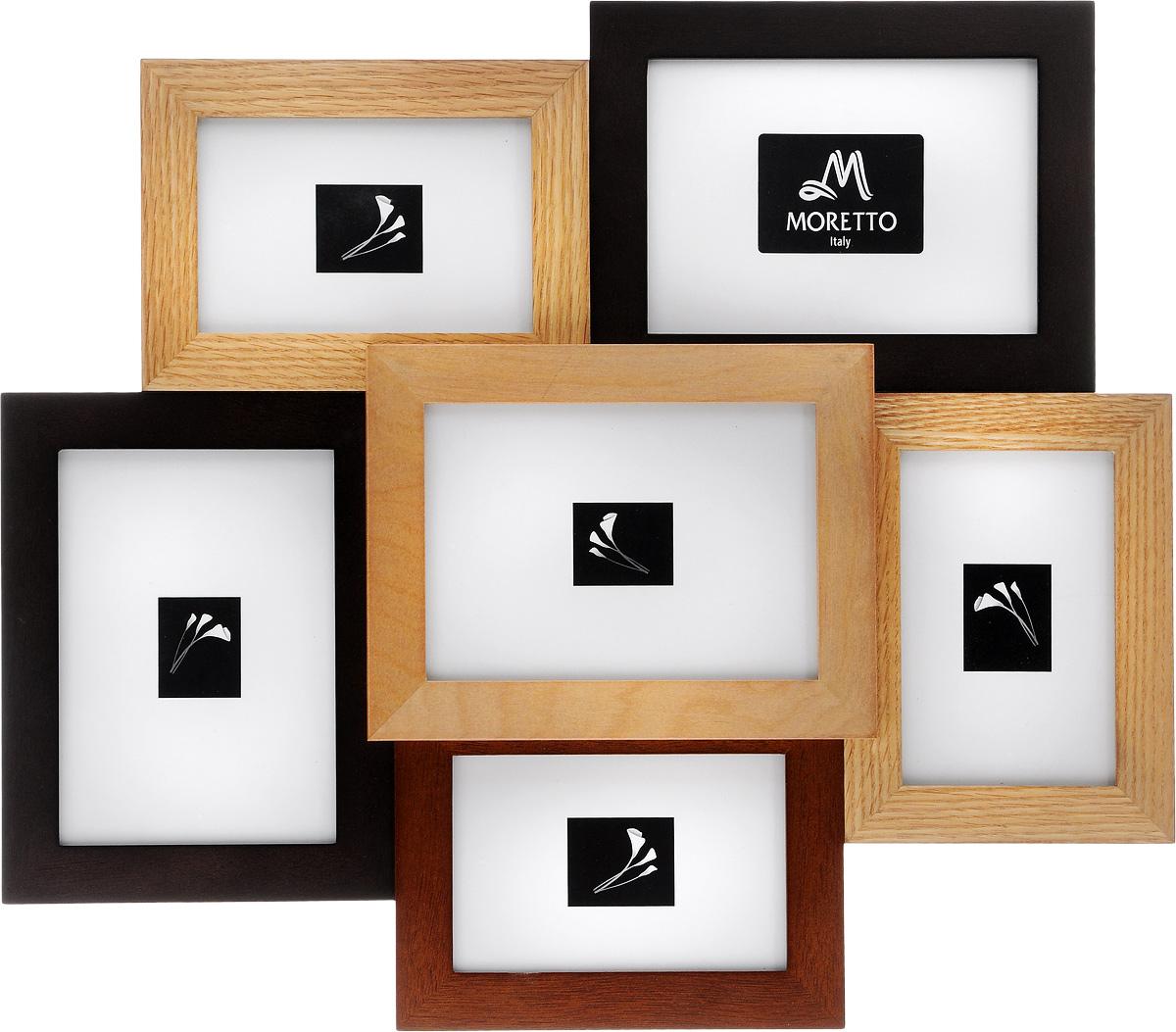Фоторамка Moretto, на 6 фото238008Фоторамка Moretto отлично дополнит интерьер помещения и поможет сохранить на память ваши любимые фотографии. Фоторамка выполнена из дерева и представляет собой коллаж из 6 прямоугольных рамочек с вертикальным и горизонтальным расположением фотографий. Изделие подвешивается к стене. Такая рамка позволит сохранить на память изображения дорогих вам людей и интересных событий вашей жизни, а также станет приятным подарком для каждого. Размер рамок: - 3 фоторамки 25,7 х 16,9 см для фото 12 х 17 см, - 3 фоторамки 14,2 х 19,2 см для фото 10 х 15 см. Общий размер фоторамки: 51 х 44 см.