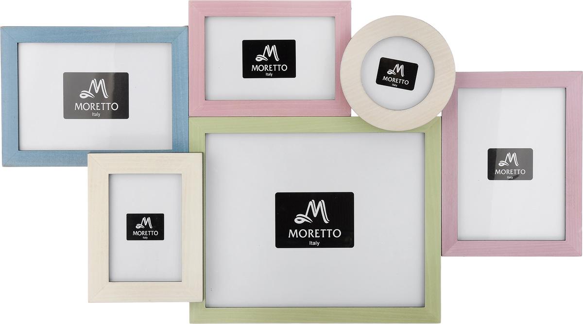 Фоторамка Moretto, на 6 фото. 238015238015Фоторамка Moretto отлично дополнит интерьер помещения и поможет сохранить на память ваши любимые фотографии. Фоторамка выполнена из дерева и представляет собой коллаж из 6 рамочек с вертикальным и горизонтальным расположением фотографий. Изделие подвешивается к стене. Такая рамка позволит сохранить на память изображения дорогих вам людей и интересных событий вашей жизни, а также станет приятным подарком для каждого. Размер рамок: - 2 фоторамки 20,4 х 15,2 см для фото 13 х 18 см, - 2 фоторамки 18 х 12,7 см для фото 10 х 15 см, - фоторамка 27,8 х 22,8 см для фото 20 х 25 см, - круглая фоторамка диаметром 12,5 см для фото диаметром 9 см. Общий размер фоторамки: 64 х 36 см.
