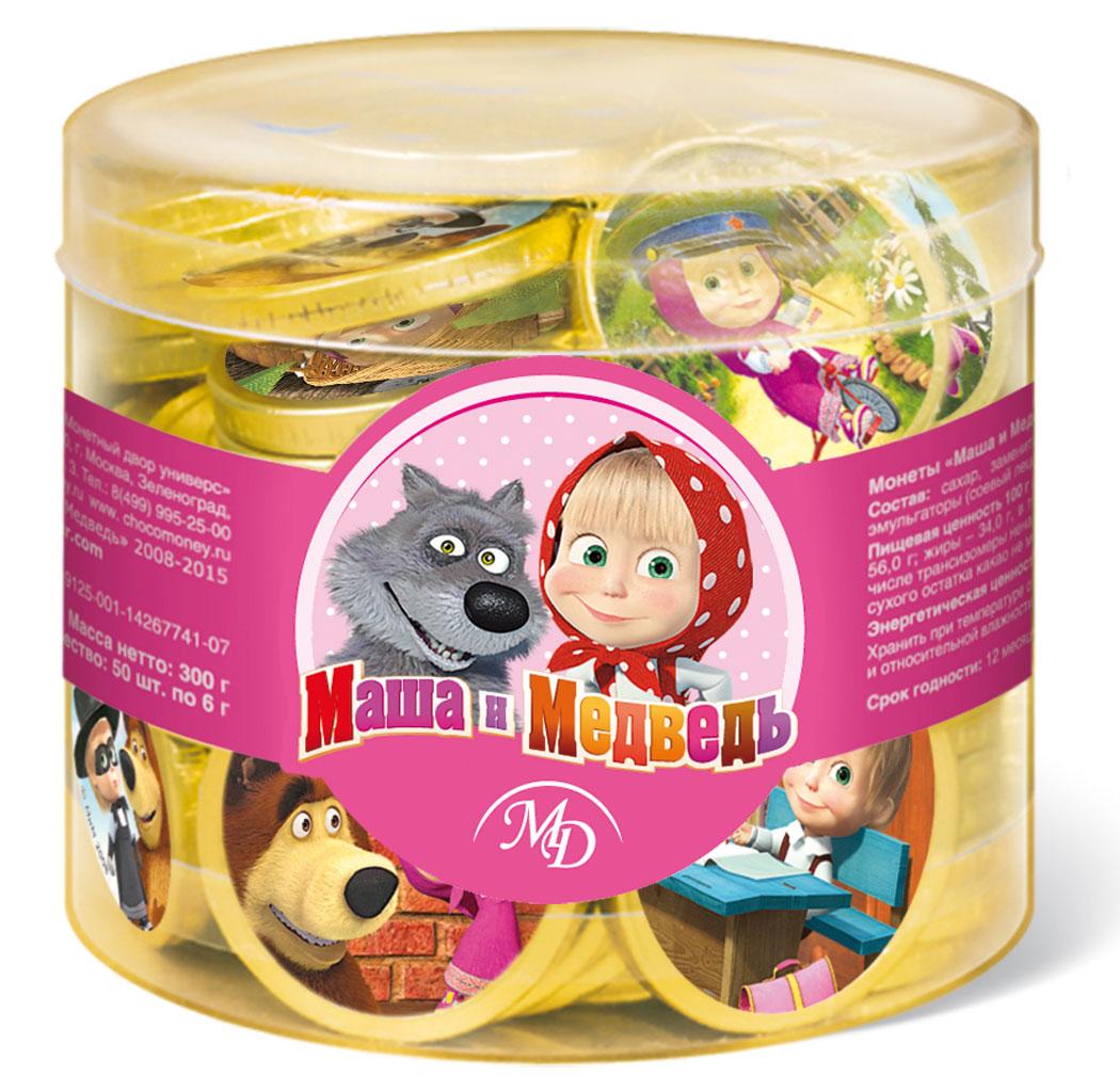 Монетный двор Маша и Медведь шоколадные монетные, 50 шт по 6 г (пластиковая банка)14462