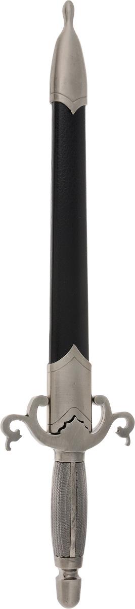 Кортик декоративный Русские Подарки, 40 см31155Декоративный кортик Русские Подарки выглядит очень реалистично. Прямой клинок кортика и рукоятка изготовлены из высококачественной нержавеющей стали. Ножны выполнены из нержавеющей стали с вставками из пластика. Внутри ножен вставка из полимера, не царапающая клинок. Такой кортик станет изысканным подарком и прекрасным дополнением интерьера вашей квартиры или офиса. Сувенирное оружие - это всегда блестящий подарок для мужчины, прекрасный вариант как для партнера по бизнесу, так и для любимого. Если вы заядлый коллекционер, то добавление нового декоративного оружия к своей коллекции будет ярким и приятным моментом в вашей жизни. Клинок не заточен. Длина кортика (с ножнами): 40 см. Длина клинка: 25,5 см.
