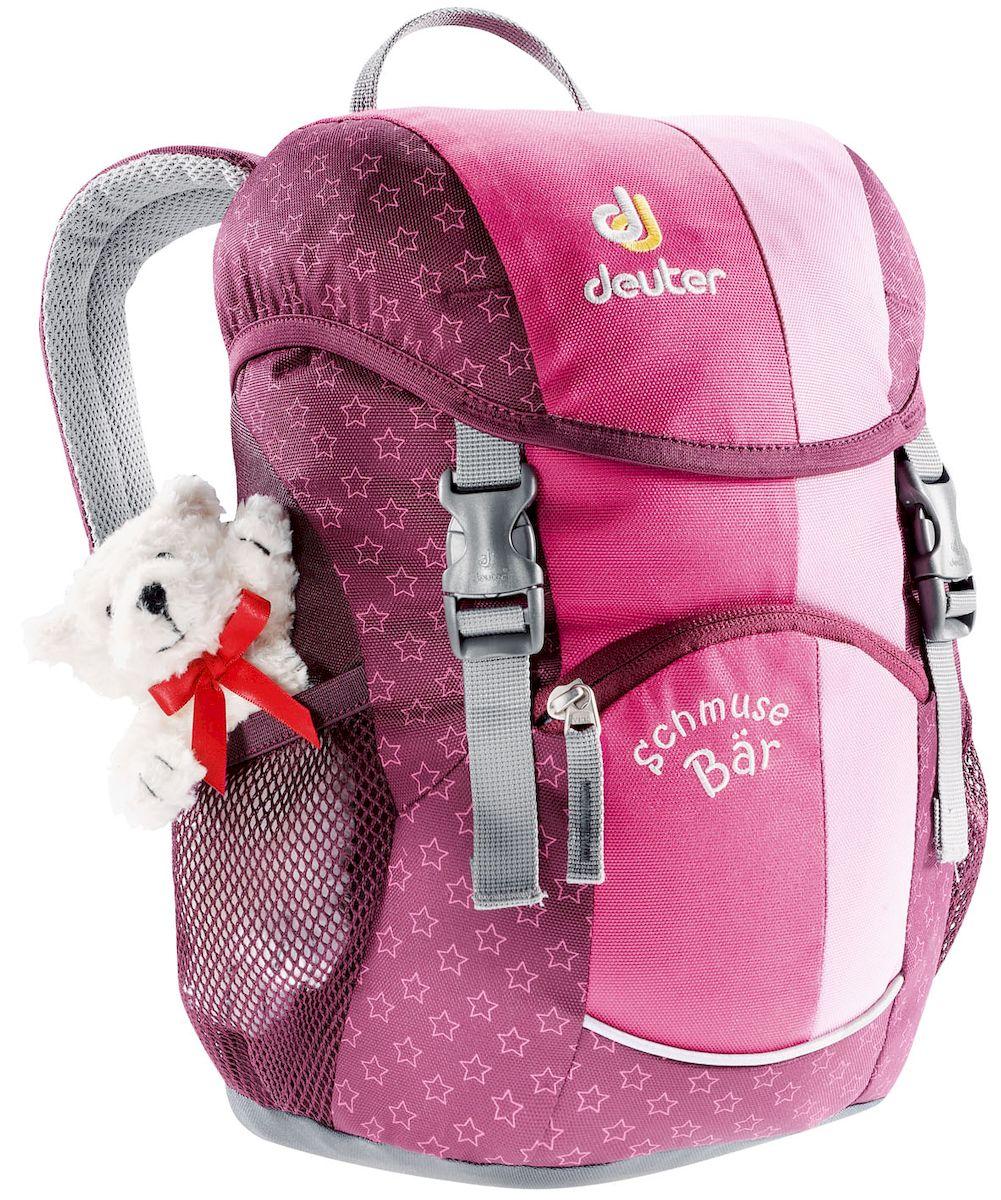 Рюкзак городской Deuter Schmusebar Pink, цвет: розовый, 8 л. 3600336003_5040Детские рюкзаки Deuter - это настоящие хиты для детского сада, школы или походных приключений. Новые оригинальные вышивки, цветные набивные рисунки - есть от чего загореться глазам любого ребенка! Рюкзак Deuter Schmusebar рассчитан на детей от 3 лет, плюшевый мишка прилагается. -удобная мягкая спинка -новые S-образные плечевые лямки с мягкими краями -нагрудный ремень -два боковых сетчатых кармана -именная бирка внутри -отражатель 3М спереди и большой отражатель на переднем кармане для повышения безопасности -удобные для детей застежки Материал: Super-Polytex.