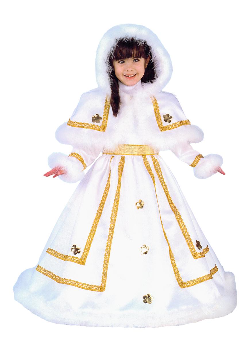 Rio Карнавальный костюм для девочки Принцесса цвет белый золотой размер 34 (7-8 лет)106159Карнавальный костюм для праздничных и театрализованных мероприятий Ручная или деликатная стирка