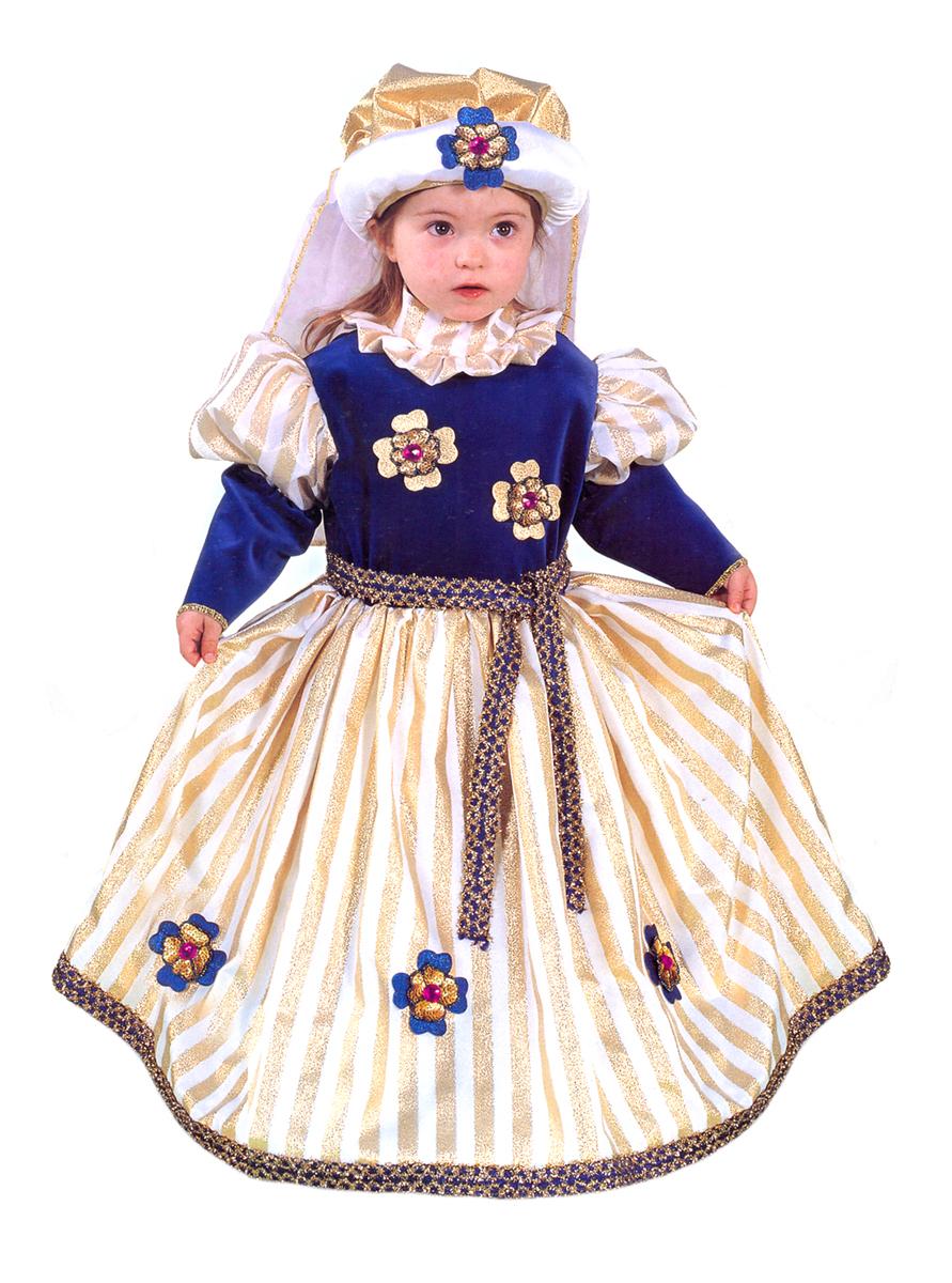 Rio Карнавальный костюм для девочки Принцесса цвет синий золотой размер 28 (3-4 года)105257Карнавальный костюм для праздничных и театрализованных мероприятий Ручная или деликатная стирка