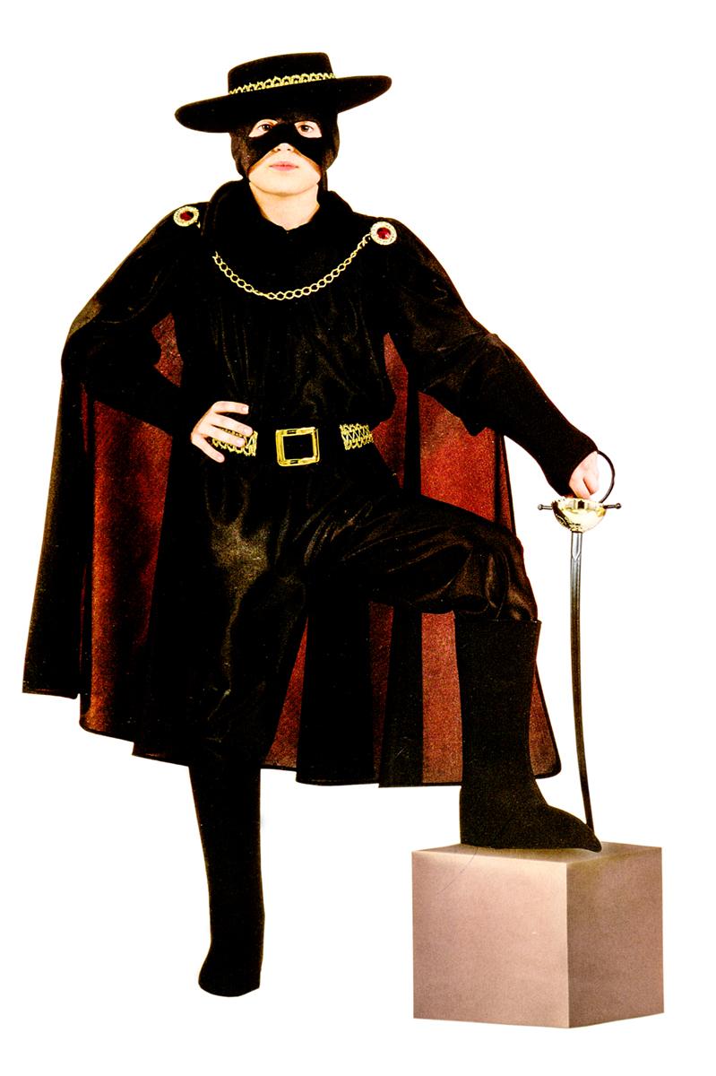 Rio Карнавальный костюм для мальчика Зорро цвет черный размер 28 (3-4 года)107043Карнавальный костюм для праздничных и театрализованных мероприятий Ручная или деликатная стирка
