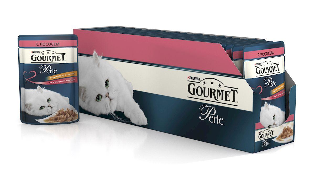 Консервы для кошек Gourmet Perle, мини-филе с лососем, 85 г, 24 шт54158_24
