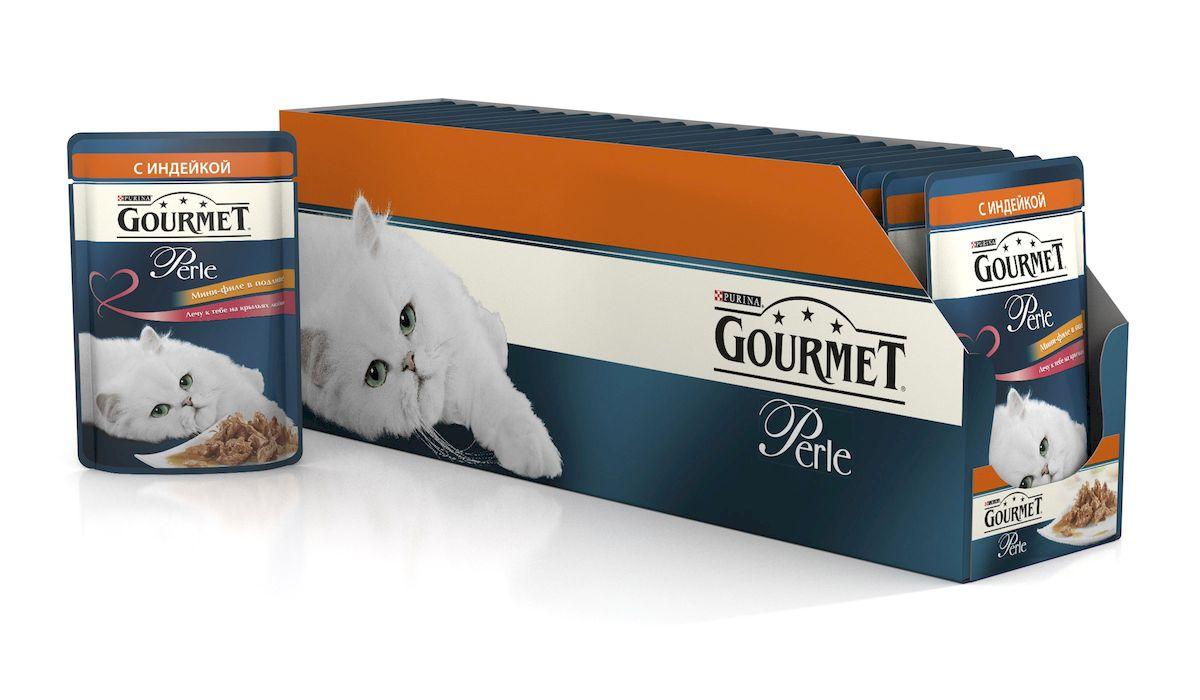Консервы для кошек Gourmet Perle, мини-филе с индейкой, 85 г, 24 шт54055_24