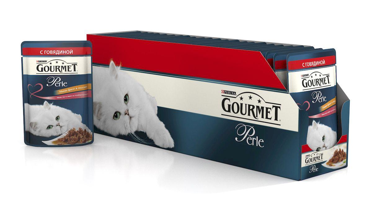 Консервы для кошек Gourmet Perle, мини-филе с говядиной, 85 г, 24 шт54057_24