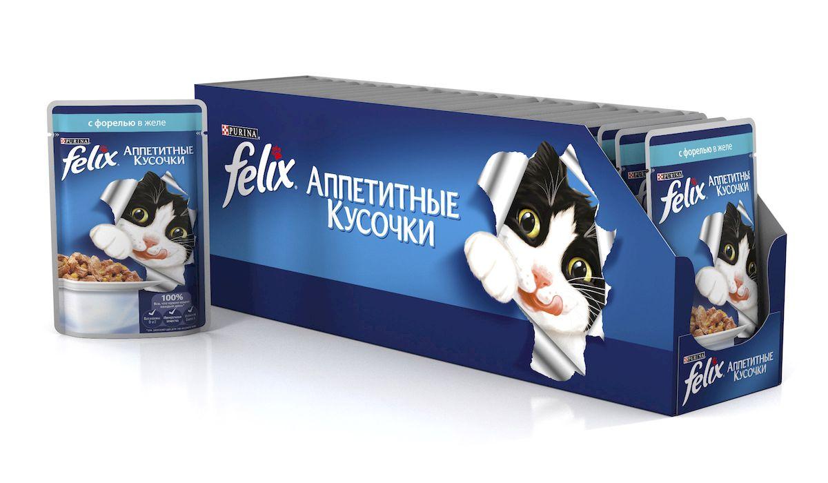 Консервы для кошек Felix Аппетитные кусочки, с форелью в желе, 85 г, 24 шт53951_24Консервы для кошек Felix Аппетитные кусочки - это полнорационный корм для кошек. У него такой аппетитный вид и аромат, словно его приготовили вы сами. Felix Аппетитные кусочки создан по специально разработанной рецептуре: это нежнейшие кусочки с рыбой, покрытые сочным желе. Ваш кот будет готов есть такую вкуснятину хоть каждый день - на завтрак, обед и ужин. Рекомендации по кормлению: Для взрослой кошки среднего веса (4 кг) требуется примерно 3 пакетика в день. Кормление желательно разделить на два приема. Для беременных или кормящих кошек кормление без ограничений. Подавать корм при комнатной температуре. Следите, чтобы у вашей кошки всегда была чистая, свежая питьевая вода. Условия хранения: Закрытую упаковку хранить при температуре от +4°C до +35°C и относительной влажности воздуха не более 75%. После открытия продукт хранить в холодильнике максимум 24 часа. Состав: мясо и продукты его переработки 17%, экстракт...
