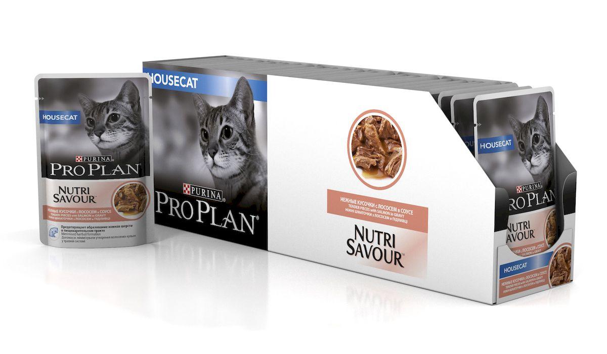 Консервы Pro Plan Nutri Savour для домашних кошек, с лососем, 85 г, 24 шт57489_24Корм полнорационный консервированный Pro Plan Nutri Savour для взрослых кошек, с индейкой в соусе. Высокое содержание белка способствует поддержанию идеальной массы тела. Снижение образования комков шерсти в желудке благодаря высокому содержанию клетчатки. Содержание пребиотиков способствует здоровому пищеварению и уменьшению запаха из лотка. Нежные кусочки в пикантном соусе очень привлекательны для кошек благодаря запатентованной технологии производства департамента Purina компании Nestle. Состав: мясо и продукты переработки мяса, экстракты растительных белков, рыба и продукты переработки рыбы (в том числе лосось), растительные и животные жиры, минеральные вещества, красители, антиоксиданты, сахара, продукты переработки растительного сырья, витамины. Добавленные вещества: МЕ/кг: витамин А 1036, витамин D3 145, витамин Е 267, мг/кг: таурин 447, железо 9,89, йод 0,37, медь 0,94, марганец 1,73, цинк 26,77, селен 0,022. Гарантируемые показатели: влажность 79%, белок...