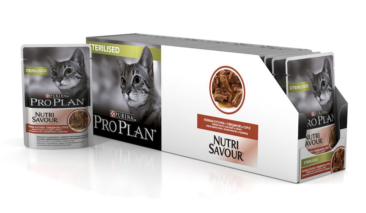 Консервы Pro Plan Nutri Savour для стерилизованных кошек, с говядиной, 85 г, 24 шт57488_24