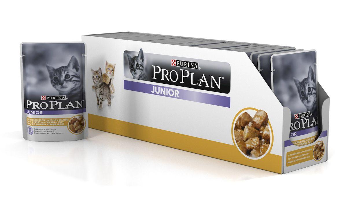 Консервы для котят Pro Plan Junior, с курицей в желе, 85 г, 24 шт61724_24Полнорационные консервы Pro Plan Junior со вкусом, который нравится кошкам, содержит все необходимые питательные вещества, включая витамины в большом количестве, для поддержания здорового роста. Состав: мясо и мясные субпродукты (в том числе курица 9%), рыба и рыбные субпродукты, минеральные вещества, различные сахара, витамины. Добавленные вещества: МЕ/кг: витамин А 1050, витамин D3 145, мг/кг: железо 31, йод 0,59, медь 3,8, марганец 5,4, цинк 75, селен 0,05. Гарантируемые показатели: влажность: 82%, белок 9,5%, жир 4,3%, сырая зола 2,4%, сырая клетчатка 0,4%. Товар сертифицирован.