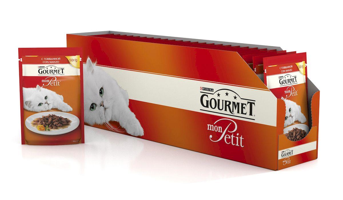 Консервы Gourmet Mon Petit, для взрослых кошек, с говядиной, 50 г, 24 шт60392_24