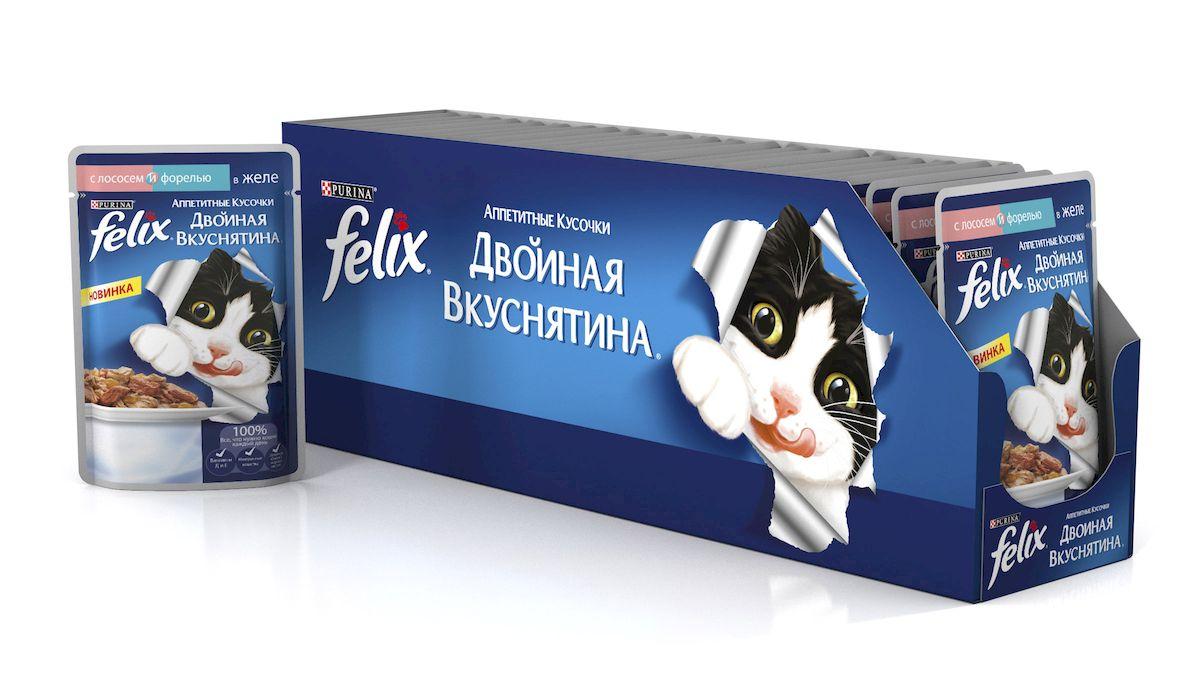 Felix Консервы для кошек Двойная Вкуснятина. Лосось&Форель, 85 г, 24 шт61524_24