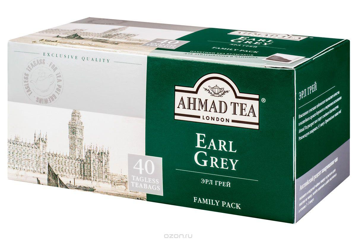 Ahmad Tea Earl Grey черный чай в пакетиках без ярлычков, 40 шт