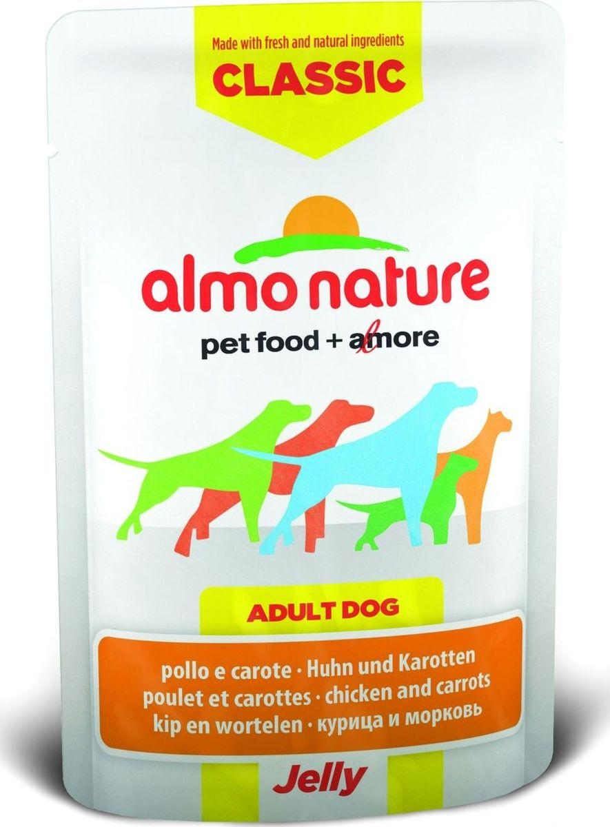 Консервы для собак Almo Nature Classic, курица и морковь в желе, 70 г10698Консервы Almo Nature Classic - восхитительно вкусный функциональный влажный корм для собак, содержащий желатин, который является натуральным средством для вывода шерсти из организма животного, помогающий защитить пищеварительный тракт от раздражения, а также он придает корму восхитительно нежную структуру. Консервы приготовлены из самых свежих отборных ингредиентов уровня Human Grade (качество как для людей), являющихся натуральным естественным источником витаминов и микроэлементов. Состав: курица 55%, куриный бульон, морковь 5%, рис 0,2%. Пищевая ценность: белки 11%, клетчатка 0.1%, масла и жиры 0.5%, зола 1%, влажность 86%. Калорийность: 480 ккал/кг. Товар сертифицирован.