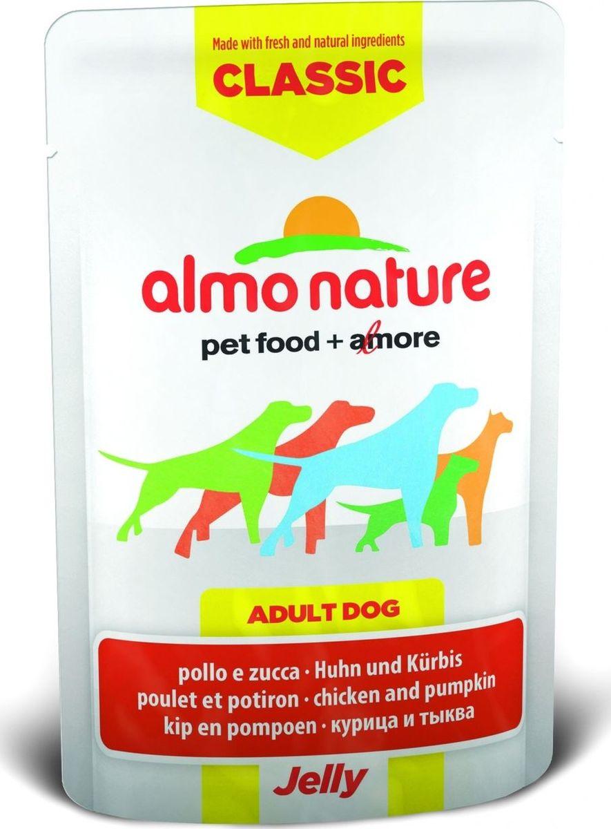 Консервы для собак Almo Nature Classic, курица и тыква в желе, 70 г10700Консервы Almo Nature Classic - восхитительно вкусный функциональный влажный корм для собак, содержащий желатин, который является натуральным средством для вывода шерсти из организма животного, помогающий защитить пищеварительный тракт от раздражения, а также он придает корму восхитительно нежную структуру. Консервы приготовлены из самых свежих отборных ингредиентов уровня Human Grade (качество как для людей), являющихся натуральным естественным источником витаминов и микроэлементов. Состав: курица 55%, куриный бульон, тыква 5%, рис 0,2%. Пищевая ценность: белки 16%, клетчатка 0.1%, масла и жиры 0.5%, зола 1%, влажность 81%. Калорийность: 667 ккал/кг. Товар сертифицирован.