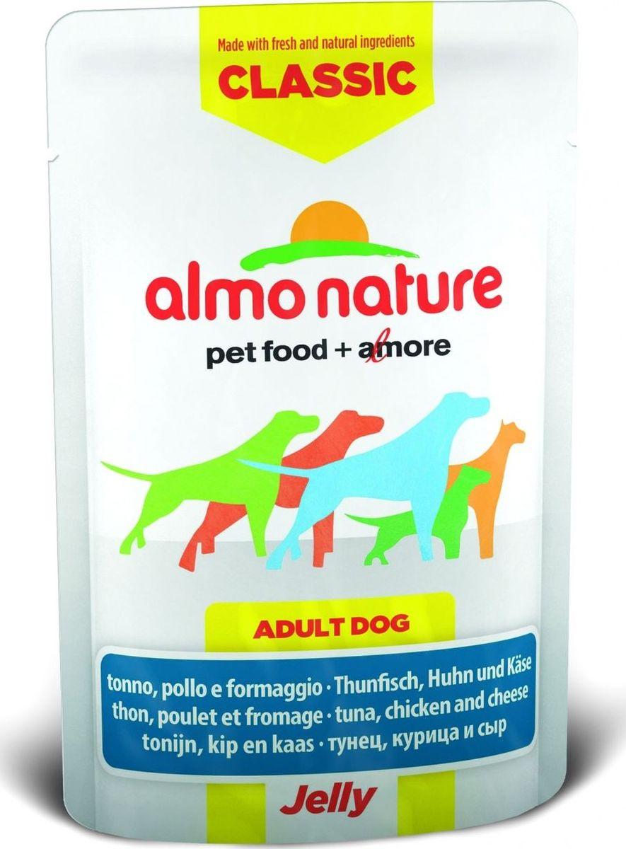 Консервы для собак Almo Nature Classic, тунец, курица и сыр в желе, 70 г10701Консервы Almo Nature Classic - восхитительно вкусный функциональный влажный корм для собак, содержащий желатин, который является натуральным средством для вывода шерсти из организма животного, помогающий защитить пищеварительный тракт от раздражения, а также он придает корму восхитительно нежную структуру. Консервы приготовлены из самых свежих отборных ингредиентов уровня Human Grade (качество как для людей), являющихся натуральным естественным источником витаминов и микроэлементов. Состав: тунец 27,5%, курица 27,5%, бульон из тунца, сыр 5%, рис 0,2%. Пищевая ценность: белки 16%, клетчатка 0.1%, масла и жиры 2%, зола 1%, влажность 80%. Калорийность: 767 ккал/кг. Товар сертифицирован.