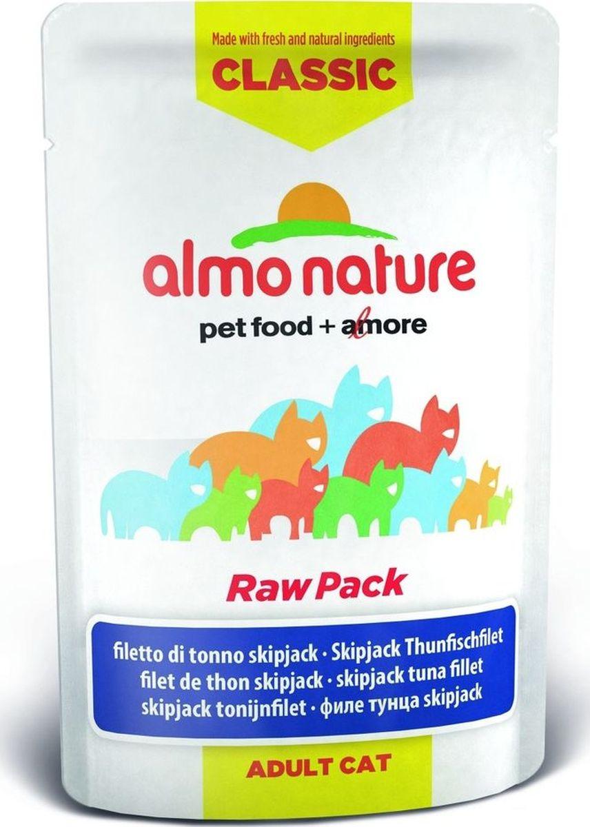 Консервы для кошек Almo Nature, филе полосатого тунца, 55 г. 2046920469Almo Nature Classic Raw Rack - сбалансированный влажный корм для кошек, изготовленный из ингредиентов высшего качества HumanGrade (пригодно в пищу человеку), являющихся натуральными источниками витаминов и питательных веществ. Уникальная технология изготовления Raw Pack, в процессе которой мясные ингредиенты упаковываются в свежем сыром виде, затем проходят термическую обработку прямо в пауче, позволяет сохранить все питательные вещества и прекрасный вкус и аромат. Содержание свежего мясного филе (курица, утка, рыба) в каждом пакетике – не менее 75%. Almo Nature Classic Raw Pack - ребрендинг легендарного влaжного корма Green label Raw Rack. Все рецепты и технология изготовления остались прежними, изменился лишь дизайн упаковки и название линейки. Состав: филе полосатого тунца 75%, бульон из тунца 24%, рис 1%. Пищевая ценность: белок 20%, клетчатка 0,1%, масла и жиры 1%, зола 2%, влажность 77%. Энергетическая ценность: 780 ккал/кг.