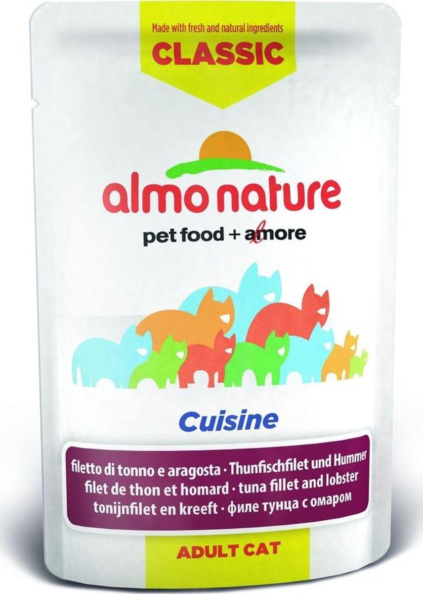 Консервы холистик для кошек Almo Nature Rouge Label, с омаром и лобстером, 55 г24077Almo Nature Rouge Label - это сбалансированный корм, который обеспечит вашу кошку всеми необходимыми питательными веществами и витаминами. При изготовлении используются ингредиенты, пригодные для употребления человеком. Корм изготовлен с учетом питания кошек в естественных природных условиях. Угощение бережно приготовлено из самых свежих ингредиентов. Корм обогащен витаминами и минералами для здоровья, а также для хорошего самочувствия. Ваш питомец будет в полном восторге! Не содержит сои, консервантов, ароматизаторов, искусственных красителей, усилителей вкуса. Состав: свежее филе тунца 55%, рыбный бульон 39,9%, мясо лобстера 4,1%, рис 1%, натуральный ароматизатор 0,7%, петрушка 0,01% Пищевая ценность: белок 14%, клетчатка 0,1%, жиры 0,5%, зола 2%, влажность 83%. Энергетическая ценность: 530 ккал/кг. Товар сертифицирован. Паучи Almo Nature изготовлены только из натуральных ингредиентов. Каждый вкус корма (курица,...