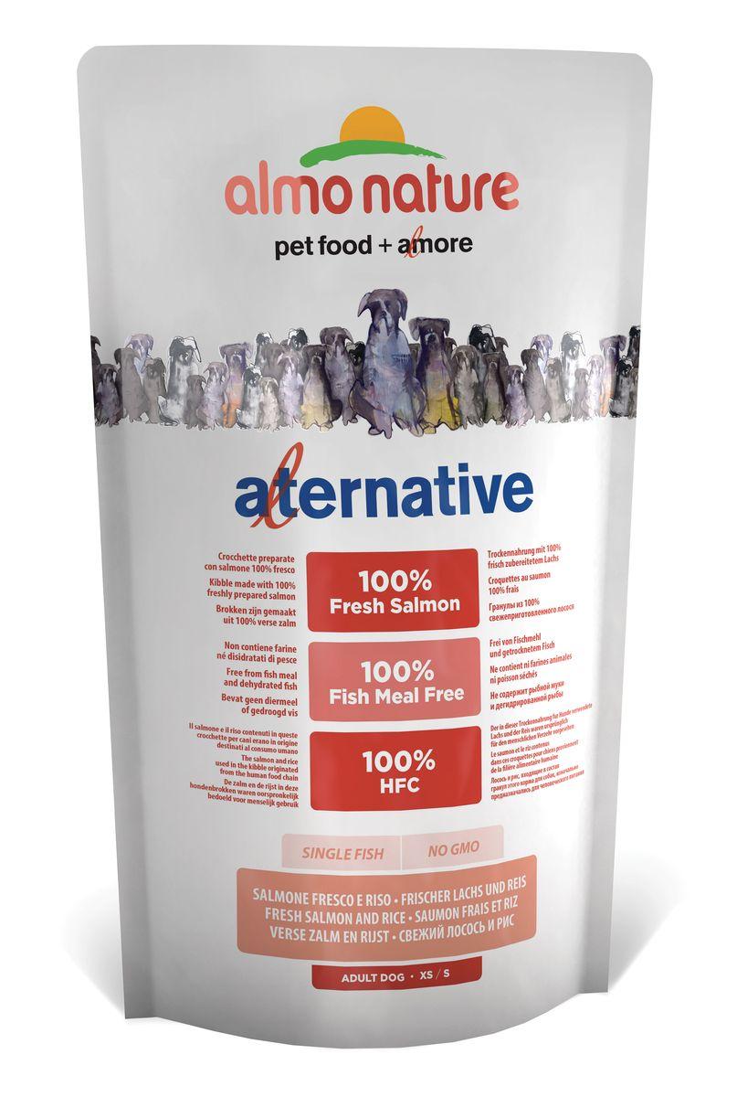 Корм сухой Almo Nature Alternative, для собак карликовых и мелких пород, с лососем и рисом, 750 г. 1075910759Состав: свежий лосось 50%, рис 40%, картофельный протеин, жир животного происхождения, минералы, гидролизированный белок ягненка, цельные семена льна, лососевый жир, маннанолигосахариды 0,1%, инулин из цикория – источник ФОС (фруктоолигосахариды) - 0,1%.