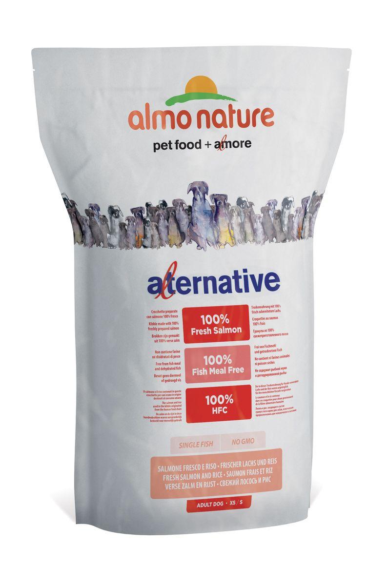 Корм сухой Almo Nature Alternative, для собак карликовых и мелких пород, с лососем и рисом, 3,75 кг. 1076210762Состав: свежий лосось 50%, рис 40%, картофельный протеин, жир животного происхождения, минералы, гидролизированный белок ягненка, цельные семена льна, лососевый жир, маннанолигосахариды 0,1%, инулин из цикория – источник ФОС (фруктоолигосахариды) - 0,1%.