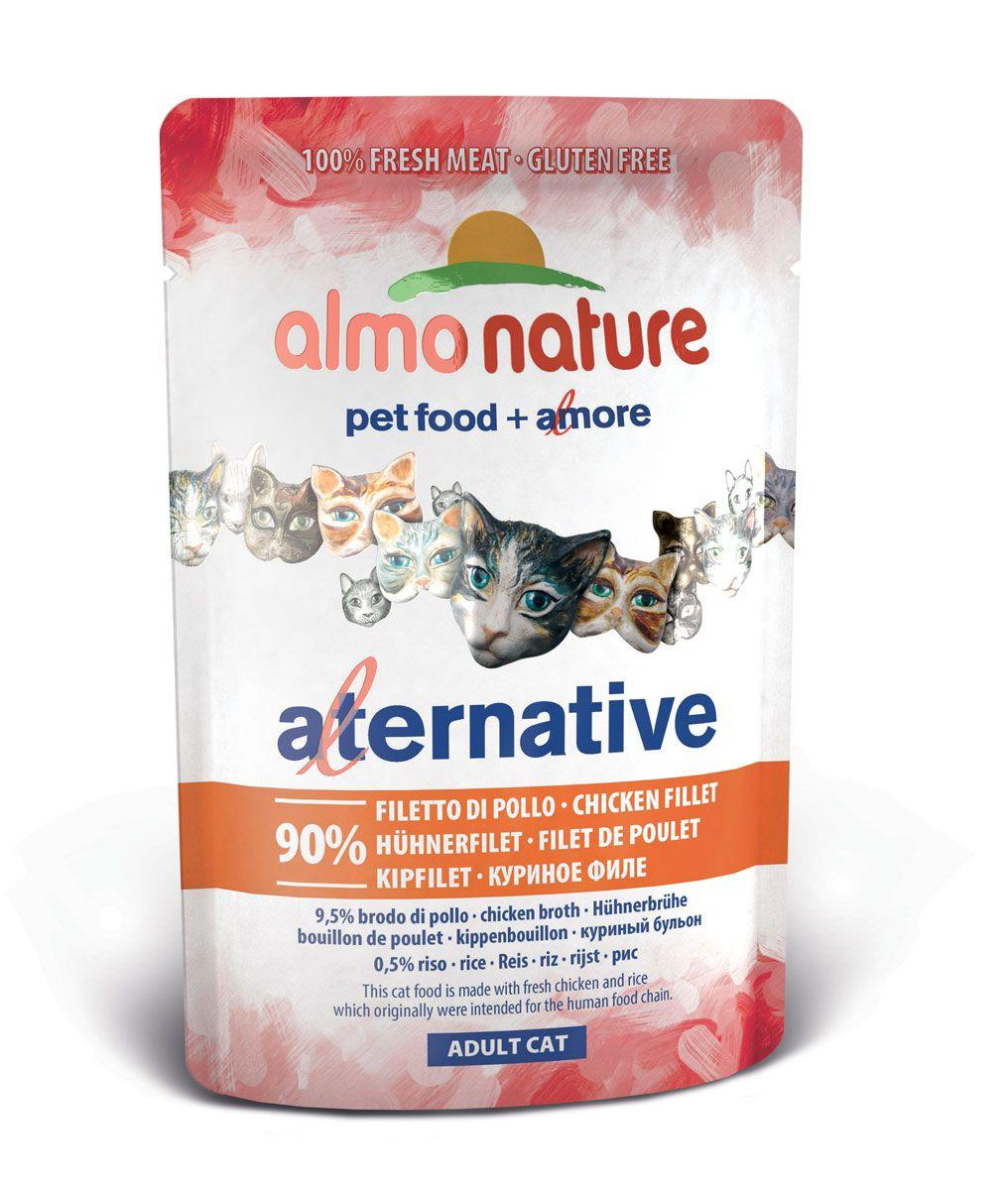Консервы для кошек Almo Nature Alternative, с куриным филе, 55 г. 2062320623Состав: филе курицы 90%, куриный бульон 9,5, рис 0,5% Пищевая ценность: белки 20%, клетчатка 0,1%, масла и жиры 1%, зола 2%, влага 78%.