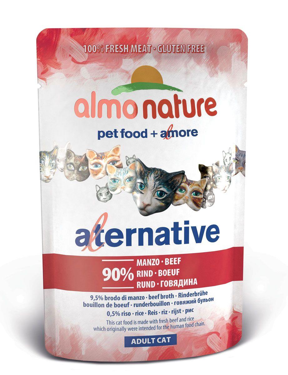 Консервы для кошек Almo Nature Alternative, с говядиной, 55 г. 2062420624Состав: говядина 90%, бульон из говядины 9,5, рис 0,5%.Пищевая ценность: белки 16%, клетчатка 0,1%, масла и жиры 4%, зола 3%, влага 74%.