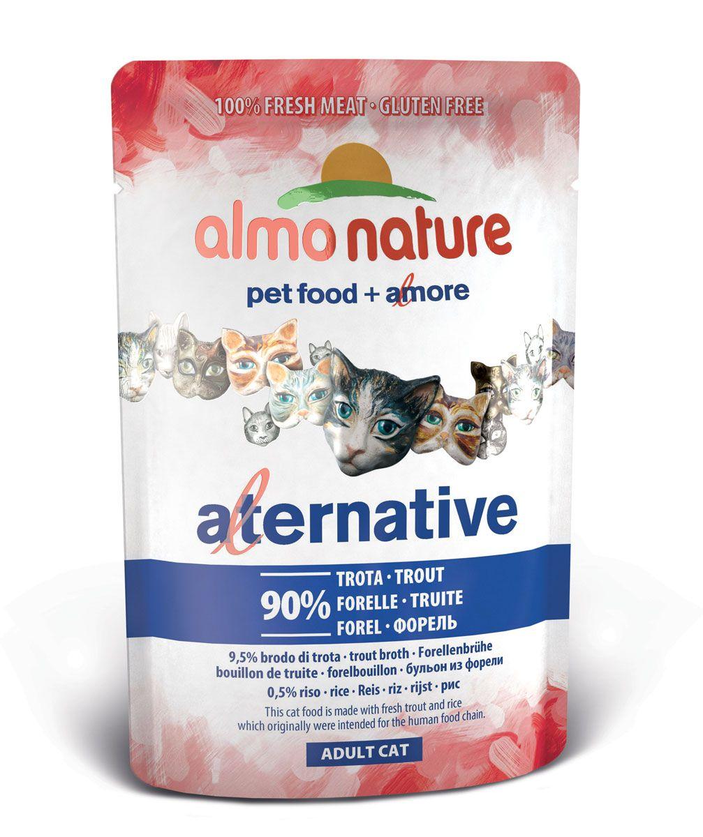 Консервы для кошек Almo Nature Alternative, с форелью, 55 г20625Консервы Almo Nature Alternative - сбалансированный влажный корм для кошек, изготовленный из ингредиентов высшего качества, являющихся натуральными источниками витаминов и питательных веществ. Состав: форель - 90%, бульон из форели - 9,5%, рис - 0,5%. Пищевая ценность: белки - 17%, клетчатка - 0,1%, масла и жиры - 7,5%, зола - 1%, влага - 71%. Товар сертифицирован.