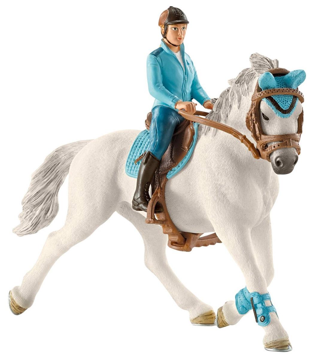 Schleich Набор фигурок Всадница на лошади42111Мчаться по бескрайним лугам на белоснежной лошади можно с оригинальным набором от немецкой компании Schleich. Каждому заводчику миниатюрных лошадок понравится набор фигурок Всадница на лошади. В наборе представлена лошадь и всадница, которая уверенно сидит в седле, держась за поводья. На всаднице спортивная форма голубого цвета, которая гармонирует с экипировкой лошади. Всадница и аксессуары для верховой езды снимаются, что позволяет использовать игрушки отдельно или комбинировать с другими лошадками Schleich. Все элементы набора выполнены из качественного материала, который безопасен для детей и очень приятен на ощупь. Игрушки Schleich развивают мелкую моторику ребенка, стимулируют творческое восприятие и позволяют создавать разнообразные сюжетно-ролевые игры с реалистичными персонажами.