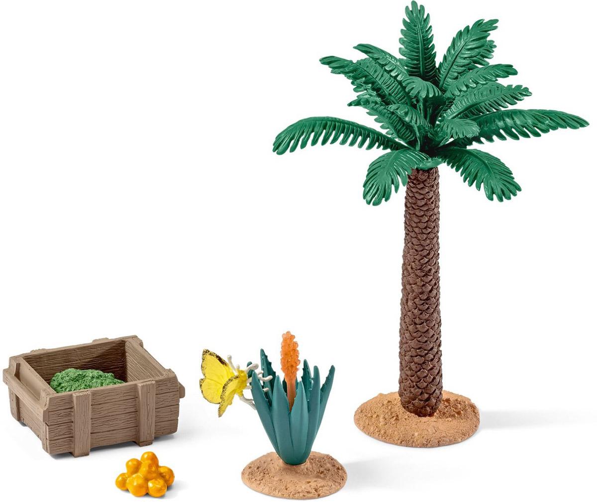 Schleich Игровой набор Растения и корм42277Игровой набор Schleich Растения и корм поможет сделать игру ребенка еще более увлекательной, а жизнь в его саванне полноценной и удобной. В наборе представлены: пальма, куст с бабочкой, фрукты, ящик с травой. Все игрушки из набора выполнены из качественного материала с мельчайшей прорисовкой деталей. Игровые элементы имеют реалистичный внешний вид, приятны на ощупь и позволяют детям играть с большим удовольствием. В процессе манипуляций с миниатюрными игрушками у ребенка развивается мелкая моторика, стимулируется развитие речи, логическое мышление, ребенок знакомится с окружающим миром.